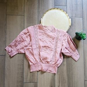 Free people One lace Victorian ruffle blouse top L
